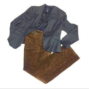 Christopher Blue Leopard Velvet bootcut Pants Sz 8